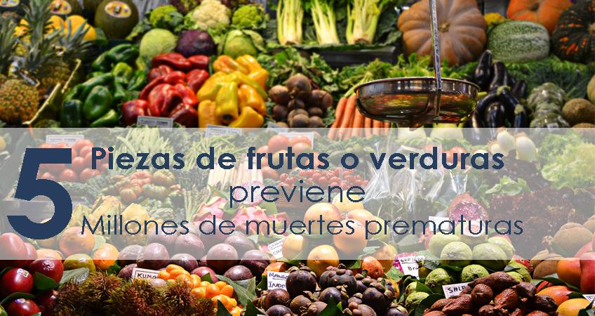 Comer más de cinco piezas de frutas o verduras puede prevenir millones de muertes prematuras